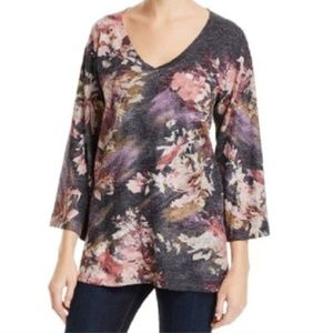 NALLY & MILLIE ABSTRACT FLORAL PRINT TUNIC M NWT